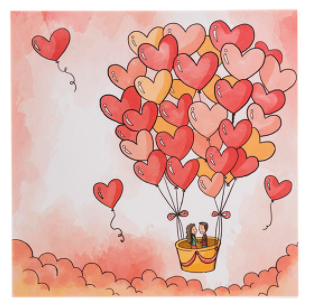کارت پستال چاپ آقا طرح بادکنک قلبی مدل 02
