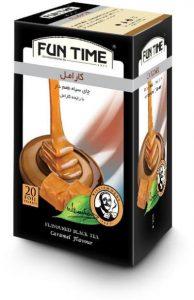 چای کیسه ای میوه ای فان تایم مدل کارامل بسته 20 عددی
